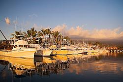 Sport fishing charter boats, Honokohau Harbor at sunset, Kona, Big Island, Hawaii, Pacific Ocean