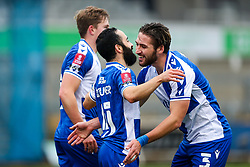 Erhun Oztumer of Bristol Rovers celebrates with Luke Leahy after scoring a goal to make it 4-0 - Rogan/JMP - 30/11/2020 - FOOTBALL - Memorial Stadium - Bristol, England - Bristol Rovers v Darlington - FA Cup Second Round Proper.