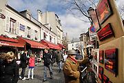 Frankrijk, Parijs, 28-3-2010het Place du Tertre in montmartre waar kunstenaars en schilders hun kunst verkopen en mensen portretteren.Foto: Flip Franssen/Hollandse Hoogte