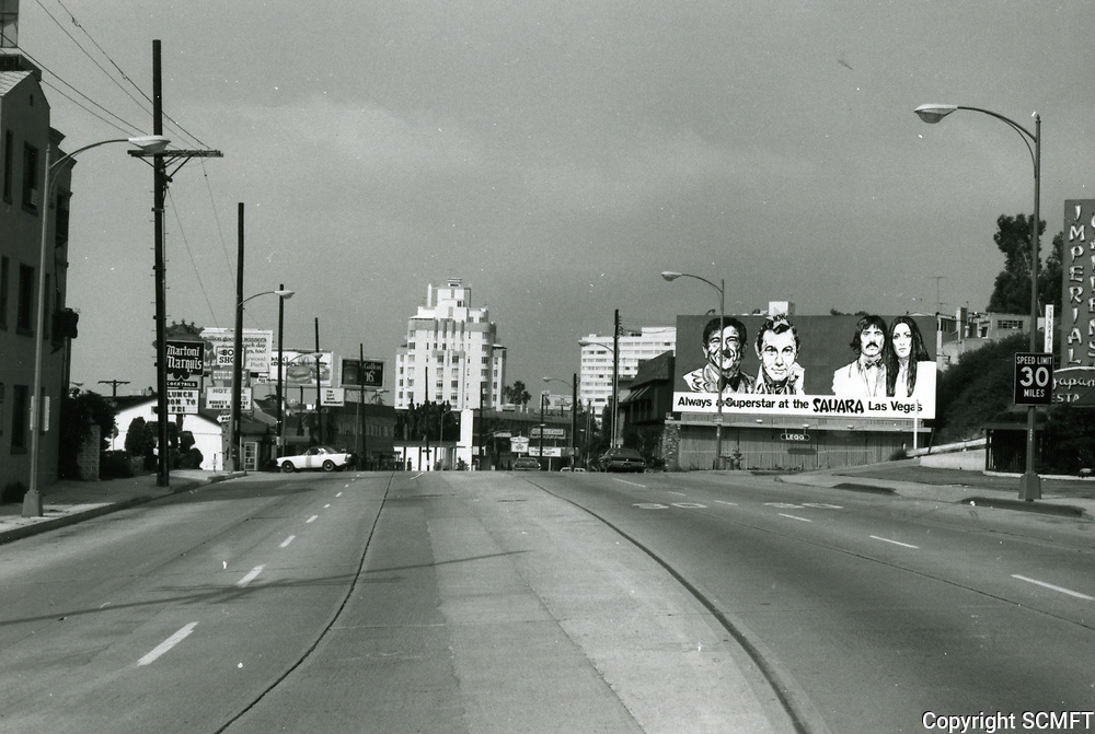 1973 Looking west on Sunset Blvd.towards Harper St. in West Hollywood
