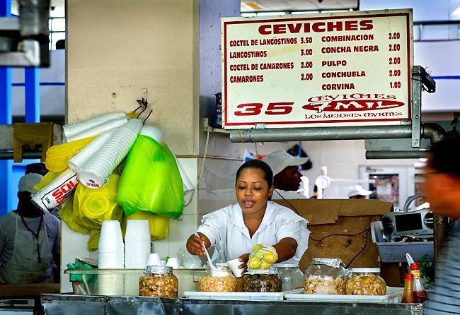 Panama, Panama City, El Mercado del Mariscos, Fish Market, Ceviche Vendor, Casco Viejo