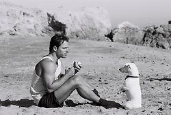 man eating a sandwich in front of a begging dog