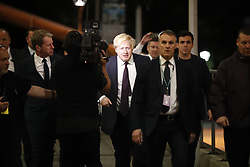 © Licensed to London News Pictures. 09/06/2017. London, UK. Foreign Secretary BORIS JOHNSON arrives at Uxbridge and South Ruislip election count centre in Brunel University, west London on Friday 9 June 2017. Photo credit: Tolga Akmen/LNP