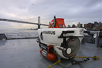 Aquarius submersible onboard a boat in San Francisco Bay