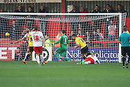 Oxford United midfielder Alex MacDonald scores a goal during the Sky Bet League 2 match between Stevenage and Oxford United at the Lamex Stadium, Stevenage, England on 31 October 2015. Photo by Jemma Phillips.