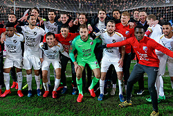 FC Utrecht celebrate after the semi final KNVB Cup between FC Utrecht and Ajax Amsterdam at Stadion Nieuw Galgenwaard on March 04, 2020 in Amsterdam, Netherlands