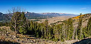 From Galena Summit, view the headwaters of the Salmon River in  Sawtooth National Recreation Area, Idaho, USA. The Sawtooth Range (part of the Rocky Mountains) are made of pink granite of the 50 million year old Sawtooth batholith. Sawtooth Wilderness, managed by the US Forest Service within Sawtooth National Recreation Area, has some of the best air quality in the lower 48 states (says the US EPA), except when compromised by forest fires. This image was stitched from multiple overlapping photos.