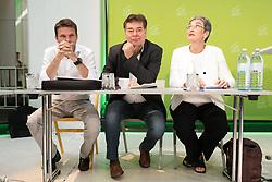 18.07.2017, Labstelle, Wien, AUT, Grüne, Sitzung des erweiterten Bundesvorstandes. im Bild v.l.n.r. Klubobmann der Grünen Albert Steinhauser, Stv. Klubobmann und Budgetsprecher der Grünen Werner Kogler und Grüne Spitzenkandidatin für die Nationalratswahl Ulrike Lunacek // f.l.t.r. Leader of the parliamentary group of the greens Albert Steinhauser, Assistant-leader and budgetary speaksman of the greens Werner Kogler and Candidate of the greens for general elections in Austria Ulrike Lunacek during board meeting of the greens in Vienna, Austria on 2017/07/18. EXPA Pictures © 2017, PhotoCredit: EXPA/ Michael Gruber