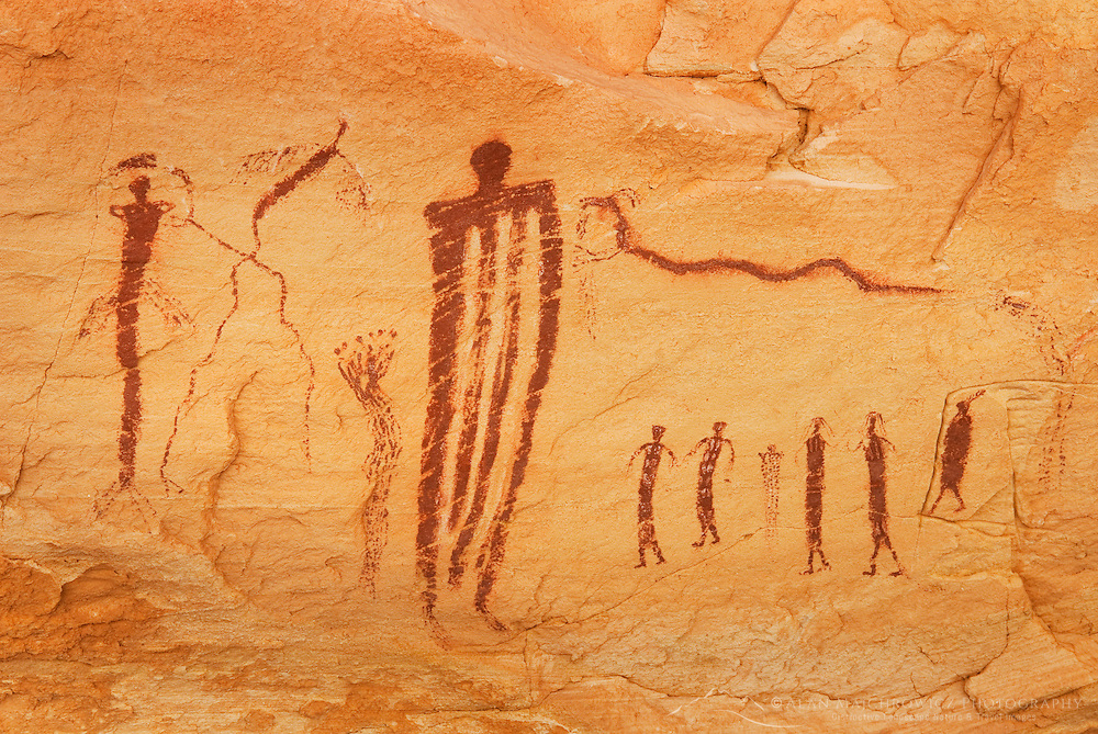 Barrier style pictographs on ceiling of alcove in Wild Horse Canyon, San Rafael Reef Utah