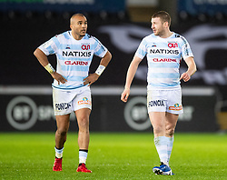 Finn Russell of Racing 92 with team-mate Simon Zebo<br /> <br /> Photographer Simon King/Replay Images<br /> <br /> European Rugby Champions Cup Round 3 - Ospreys v Racing 92 - Saturday 7th December 2019 - Liberty Stadium - Swansea<br /> <br /> World Copyright © Replay Images . All rights reserved. info@replayimages.co.uk - http://replayimages.co.uk