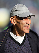 Sports analyst and former NFL head coach Tony Dungy watches pregame warmups at the NFL week 20 NFC Championship football game against the Green Bay Packers on Sunday, Jan. 18, 2015 in Seattle. The Seahawks won the game 28-22 in overtime. ©Paul Anthony Spinelli