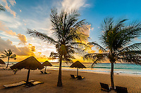 Beach at sunrise, Le Reve Hotel, Riviera Maya, Quintana Roo, Mexico