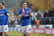 David Wheeler of Portsmouth applauds the fans after their 4-0 win over Maidenhead United during the The FA Cup 1st round match between Maidenhead United and Portsmouth at York Road, Maidenhead, United Kingdom on 10 November 2018.