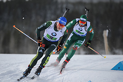February 8, 2019 - Calgary, Alberta, Canada - Lesser Erik (GER) on the left, and EDER Simon (AUT) on the right, are competing during Men's Relay of 7 BMW IBU World Cup Biathlon 2018-2019. Canmore, Canada, 08.02.2019 (Credit Image: © Russian Look via ZUMA Wire)