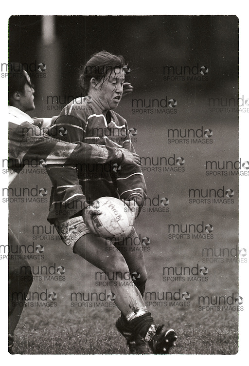 """If you wish to purchase this image, please contact us at info@mundosportimages.com quoting file name """"19960927_SB_UWOb&W_076.JPG"""" and we will clean the image before sending preparing it for sale to you. This is one of several thousand """"raw"""" black and white negative scans, each of which will need to be prepared for printing individually, which could take some time. Your understanding is appreciated...(September 27, 1996) University of Wesern Ontario Mustangs women's rugby   played at  in London, Ontario. Photograph copyright Sean Burges / Mundo Sport Images."""