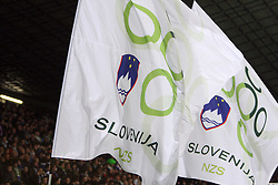 Flag of NZS at the 8th day qualification game of 2010 FIFA WORLD CUP SOUTH AFRICA in Group 3 between Slovenia and Czech Republic at Stadion Ljudski vrt, on March 28, 2008, in Maribor, Slovenia. Slovenia vs Czech Republic 0 : 0. (Photo by Vid Ponikvar / Sportida)