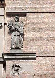 Statue on facade of renovated Neues Museum on Museuminsel in Berlin 2009
