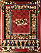 The design and calligraphy on the front book cover from the book 'L'Espagne' [Spain] by Davillier, Jean Charles, barón, 1823-1883; Doré, Gustave, 1832-1883; Published in Paris, France by Libreria Hachette, in 1874
