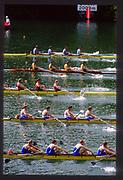 Lucerne, SWITZERLAND.  GBR M4+ Bow Adam CLIFT, John MAXEY, John GARRETT, Martin CROSS cox Vaughan THOMAS  at the start 1988  Lucerne International Regatta, Lake Rotsee. June 1988 [Mandatory Credit - Peter Spurrier/Intersport Images]