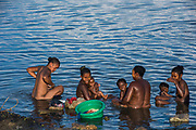 Local people bathing<br /> Hauts plateaux<br /> Central Madagascar<br /> MADAGASCAR