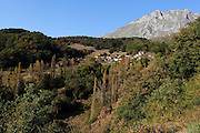 A view of the village of Salarzon, near Potes in the south-eastern side of,  the Picos de Europa, northern Spain