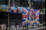 The faces of Prince Harry and Meghan Markle in a confectionary shop window as the royal town of Windsor gets ready for the royal wedding between the Prince and his American fiance, on 14th May 2018, in London, England. (Photo by Richard Baker / In Pictures via Getty Images)