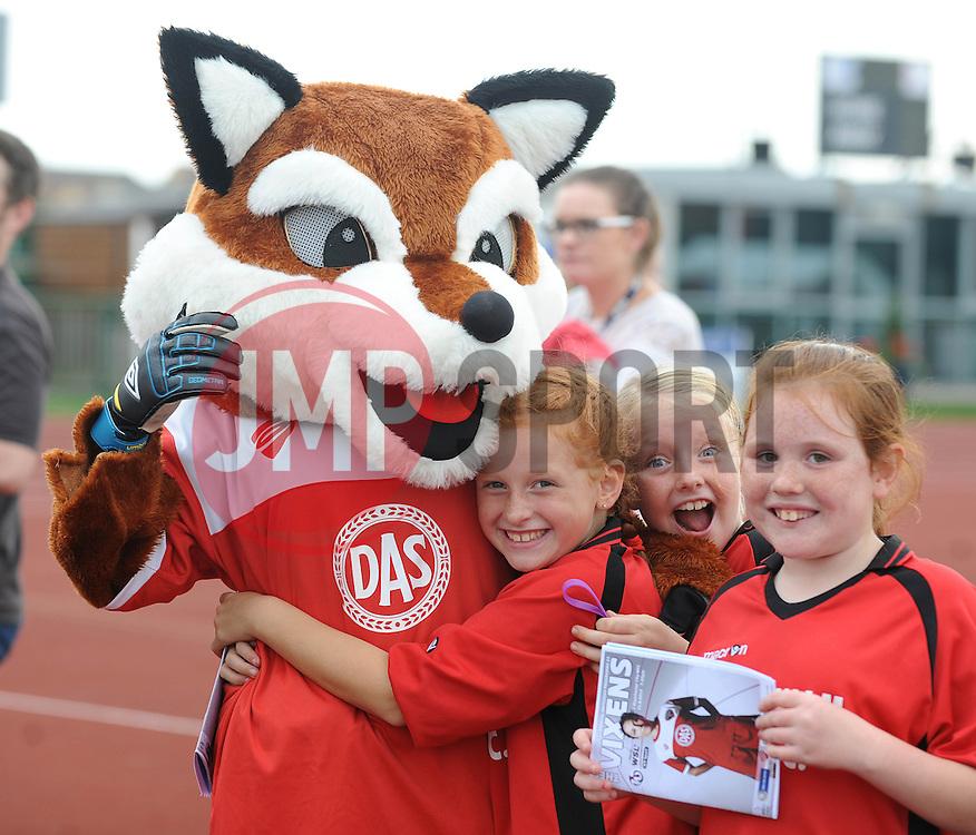 Young Bristol Academy fans with Vixen - Photo mandatory by-line: Dougie Allward/JMP - Mobile: 07966 386802 - 28/09/2014 - SPORT - Women's Football - Bristol - SGS Wise Campus - Bristol Academy Women's v Manchester City Women's - Women's Super League