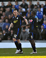 Photo: Tony Oudot/Richard Lane Photography. Bristol Rovers v Leicester City. Coca-Cola Football League One. 21/02/2009. <br /> Matty Fryatt of Leicester City is congratulated by Lloyd Dyer after scoring the only goal of the game