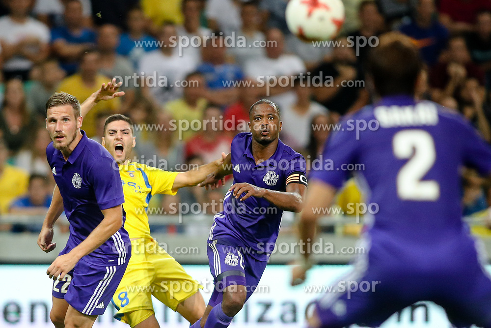 Gregory Sertic of Olympic Marseille, Matija Sirok of NK Domzale and Patrice Evra of Olympic Marseille during football match between NK Domzale and Olympique de Marseille in First game of UEFA Europa League playoff round, on August 17, 2017 in SRC Stozice, Ljubljana, Slovenia. Photo by Morgan Kristan / Sportida