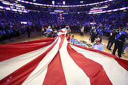 October 17, 2018 - Orlando, FL, USA - Fans unfurl a U.S. flag before the Miami Heat at Orlando Magic game at the Amway Center in Orlando, Fla., on Wednesday, Oct. 17, 2018. (Credit Image: © Stephen M. Dowell/Orlando Sentinel/TNS via ZUMA Wire)