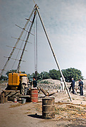 Tripod crane and generator in use water supply engineering irrigation project Pakistan, 1963