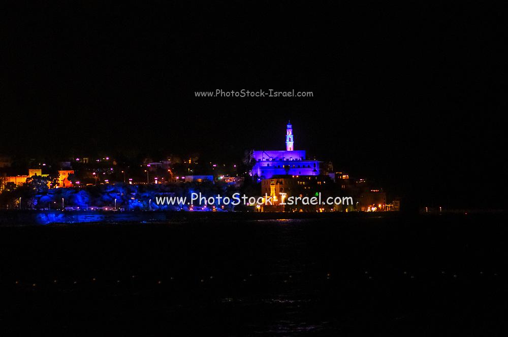 Nighttime photography of Old Jaffa illuminated at night with colorful lights. Old Jaffa, Tel Aviv, Israel