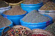 Spices and herbs for sale in the main souk, Djemaa El-Fna Medina, Marrakech, Morocco