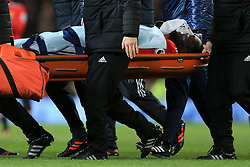30th December 2017 - Premier League - Manchester United v Southampton - Romelu Lukaku of Man Utd is carried off injured on a stretcher - Photo: Simon Stacpoole / Offside.