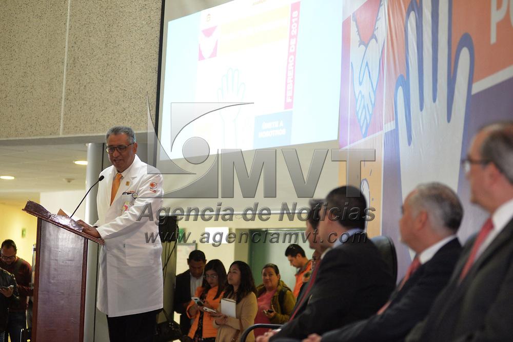 TOLUCA, México.- (Febrero 06, 2018).-  José Luis Barrera Franco, Director del Centro Oncológico Estatal ISSEMYM, encabezo la ceremonia conmemorativa del Día Mundial de Lucha Contra el Cáncer. Agencia MVT / Crisanta Espinosa.