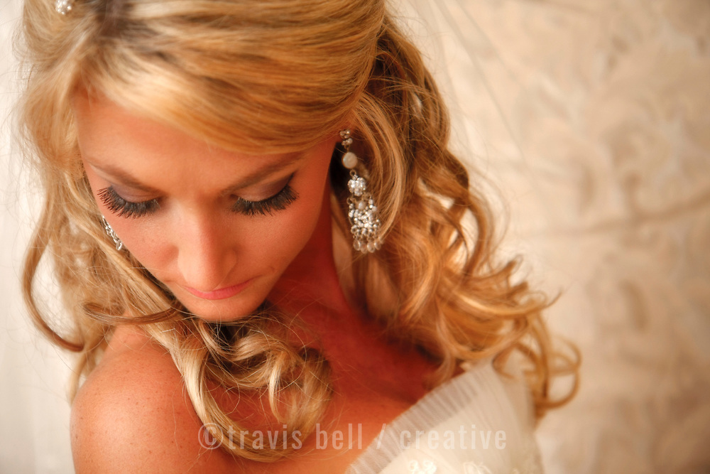 A bride is seen while getting ready for her wedding ceremony in Clemson. ©Travis Bell Photography
