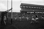 26/02/1967<br /> 02/26/1967<br /> 26 February 1967<br /> Railway Cup Semi-Finals: Leinster v Connacht at Croke Park, Dublin. <br /> O. Walsh, the Leinster goalie, looks back in horror as he realizes that he had failed to stop S. Stanley from sending Connachts first goal into the net.