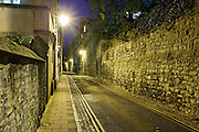 View down Brewer Street towards St Ebbes at night, from corner with St Aldates