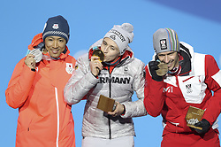 PYEONGCHANG, Feb. 15, 2018  Gold medalist Eric Frenzel (C) from Germany, silver medalist Akito Watabe (L) from Japan and Lukas Klapfer from Austria pose for photos during the medal ceremony of individual gundersen NH/10KM event of nordic combined at Pyeongchang 2018 Winter Olympic Games at Medal Plaza, PyeongChang, South Korea, Feb. 15, 2018. (Credit Image: © Wu Zhuang/Xinhua via ZUMA Wire)