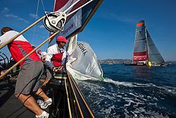 Semi-final Artemis (SWE) vs Emirates Team New Zealand (NZL.  La Maddalena, Sardinia, June 4th 2010. Louis Vuitton Trophy  La Maddalena (22 May -6 June 2010) © Sander van der Borch / Artemis