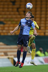 David Wheeler of Wycombe Wanderers heads the ball under pressure from Max Aarons of Norwich City - Mandatory by-line: Arron Gent/JMP - 24/10/2020 - FOOTBALL - Carrow Road - Norwich, England - Norwich City v Wycombe Wanderers - Sky Bet Championship