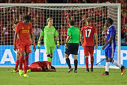 PASADENA, USA - Wednesday, July 27, 2016: Liverpool's Marko Grujic lies injured during the International Champions Cup 2016 game against Chelsea on day seven of the club's USA Pre-season Tour at the Rose Bowl. (Pic by David Rawcliffe/Propaganda)