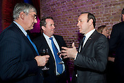 MICHAEL HINTZE; LIAM FOX;  KEVIN SPACEY, Party after the opening of 'Flea in her Ear' . The Old Vic. ( John Mortimer write the translation of theplay.) Vinioplois. 14 December 2010. DO NOT ARCHIVE-© Copyright Photograph by Dafydd Jones. 248 Clapham Rd. London SW9 0PZ. Tel 0207 820 0771. www.dafjones.com.
