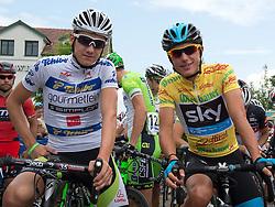 13.07.2014, Wien, AUT, 66. Österreich Radrundfahrt, 8. Etappe during the 66th Tour of Austria, Stage 8, from Podersdorf am Neusiedler-See to Vienna, im Bild v.l. Patrick Konrad (AUT, 4. Platz), Pete Kennaugh (GBR, 1. Platz) // Patrick Konrad of Austria (best Austrian rider) and Pete Kennaugh of Great Britain winner of the Tour of Austria during the 66th Tour of Austria, Stage 6, from St.Johann Alpendorf to Villach Dobratsch, Wien, Austria on 2014/07/13. EXPA Pictures © 2014, PhotoCredit: EXPA/ Reinhard Eisenbauer