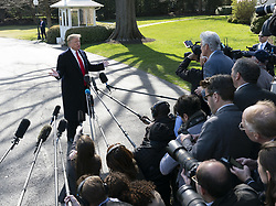 March 28, 2019 - Washington, District of Columbia, U.S. - United States President DONALD J. TRUMP speaks to the media as he departs the White House in Washington, DC, to attend a rally in Grand Rapids, Michigan. (Credit Image: © Chris Kleponis/CNP via ZUMA Wire)
