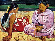 Tahitian Women on the Beach', 1891. Oil on canvas. Eugène Henri Paul Gauguin (1848–1903) French Post-Impressionist painter. Two young women in traditional dress sitting on a beach.  Portrait Female