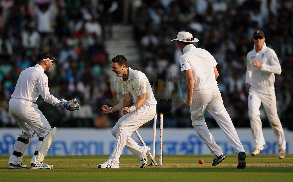James Anderson of England celebrates the wicket of Sachin Tendulkar of India during day two of the 4th Airtel Test Match between India and England held at VCA ground in Nagpur on the 14th December 2012..Photo by  Pal Pillai/BCCI/SPORTZPICS .