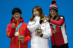February 18, 2018 - Pyeongchang, South Korea - YANG ZHOU of China (left) , CHOI MIN-JEONG of Korea (center) and KIM BOUTIN of Canada with their medals from the Ladies' 1500m Short Track speed skating event in the PyeongChang Olympic Games. (Credit Image: © Christopher Levy via ZUMA Wire)