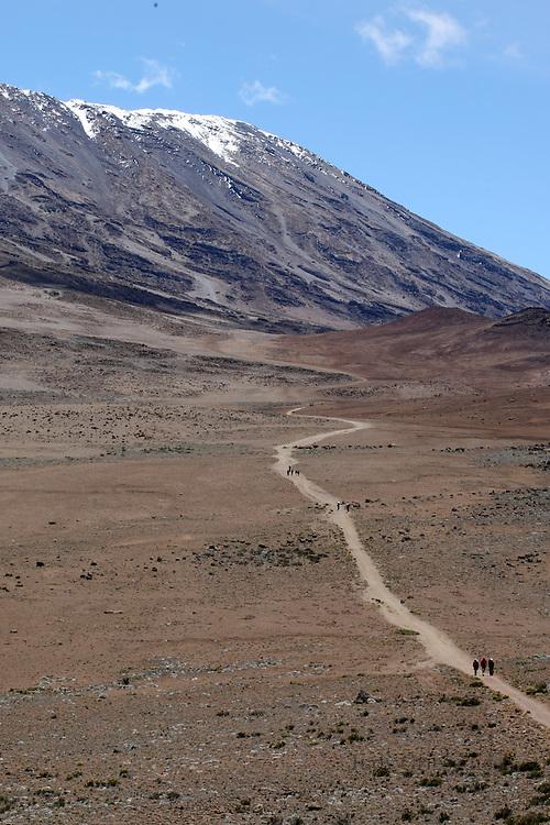 The long and winding road through the Saddle where Mt. Kilimanjaro awaits.