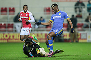 First good chance of the second half for Leeds to increase their lead. Hadi Sacko (Leeds United) is beaten to the ball by Lewis Price (Rotherham United) during the EFL Sky Bet Championship match between Rotherham United and Leeds United at the New York Stadium, Rotherham, England on 26 November 2016. Photo by Mark P Doherty.